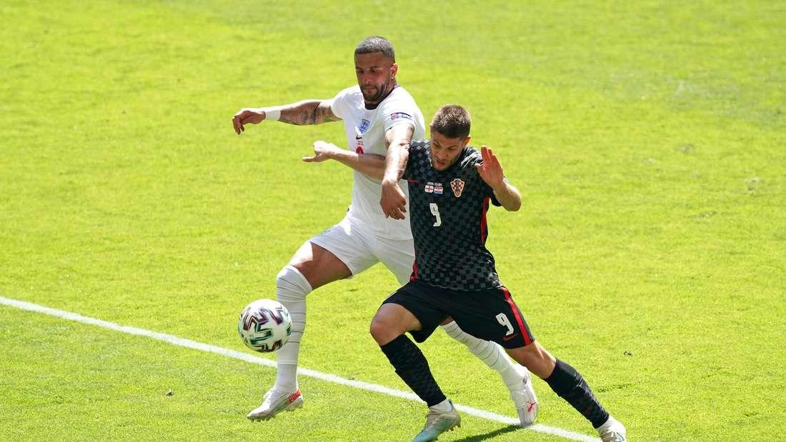 EM: Andrej Kramaric (r.) im Spiel England gegen Kroatien.