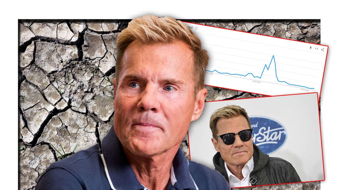 Poptitan und Ex-DSDS-Juror Dieter Bohlen vor Wüstenboden, daneben eine Grafik zu seinen Suchanfragen (Fotomontage)