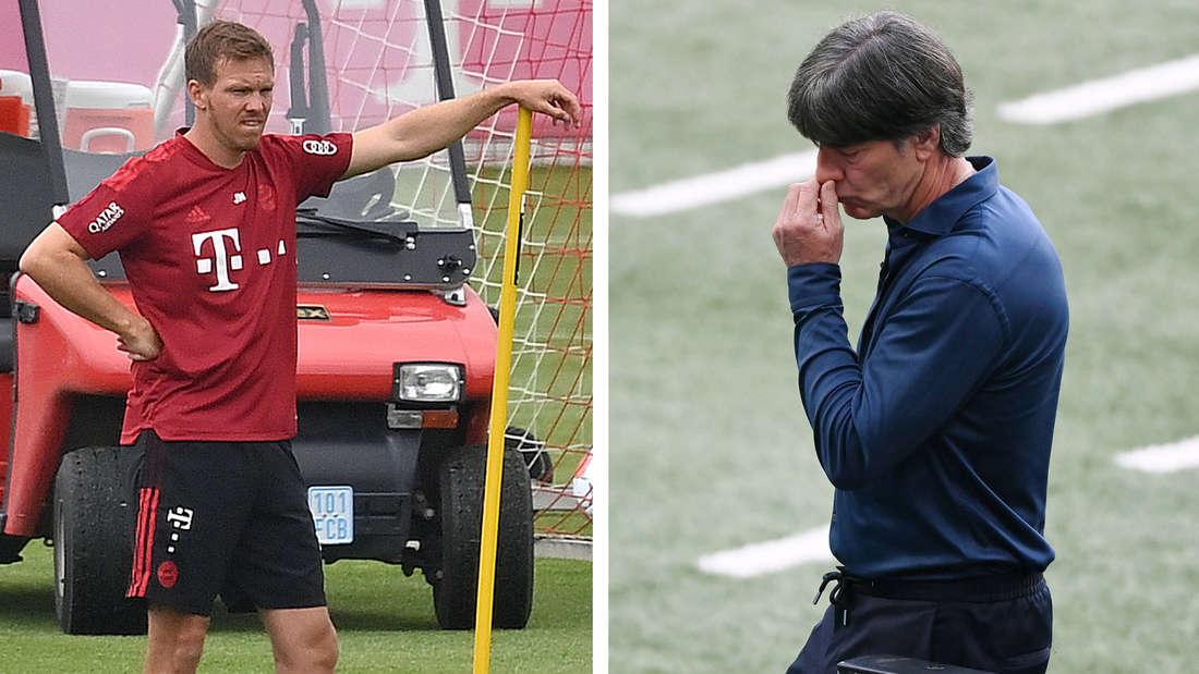 Fotomontage: Julian Nagelsmann schaut kritisch beim FCB-Training (l.), Joachim Löw ist enttäuscht (r.)