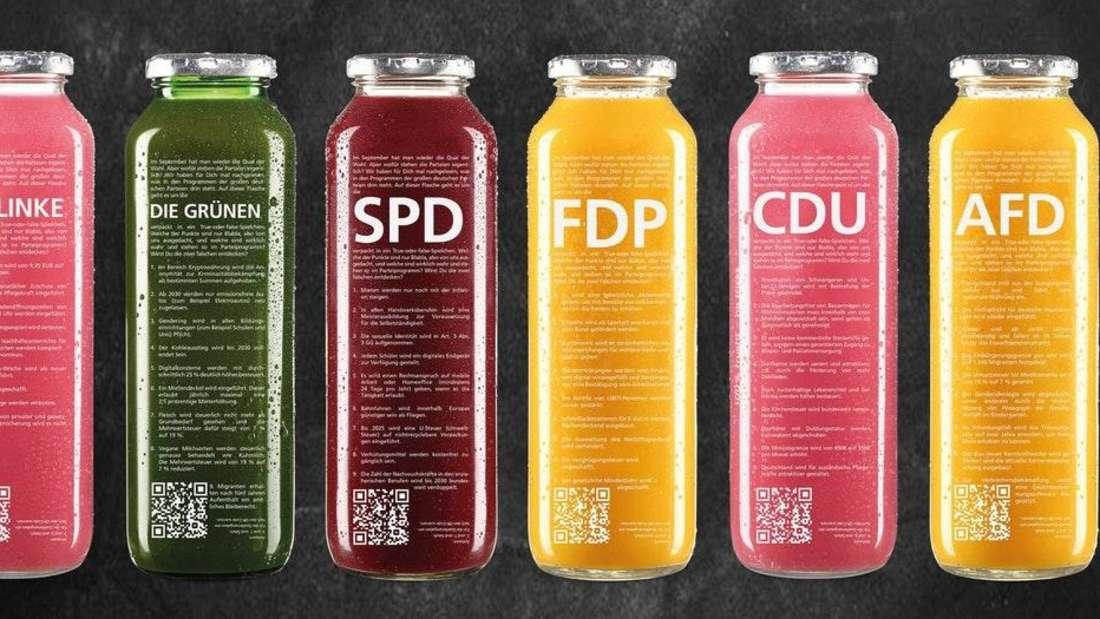 """Die Flaschenkampagne von """"True Fruits"""" zur Bundestagswahl"""