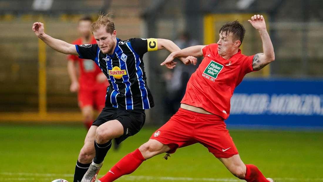 Marcel Seegert (li.) konnte die Derby-Niederlage des SV Waldhof gegen den FCK nicht verhindern.