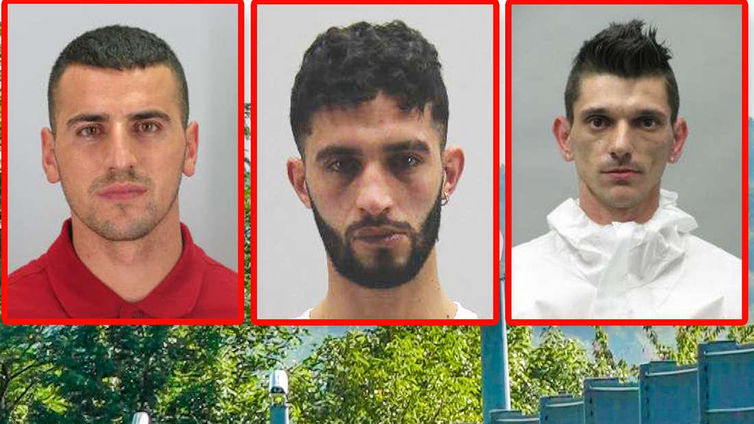 Die entflohenen Strafgefangenen Mekail Ademia (l.), Yousef Cherif und Christian Duga (r.)