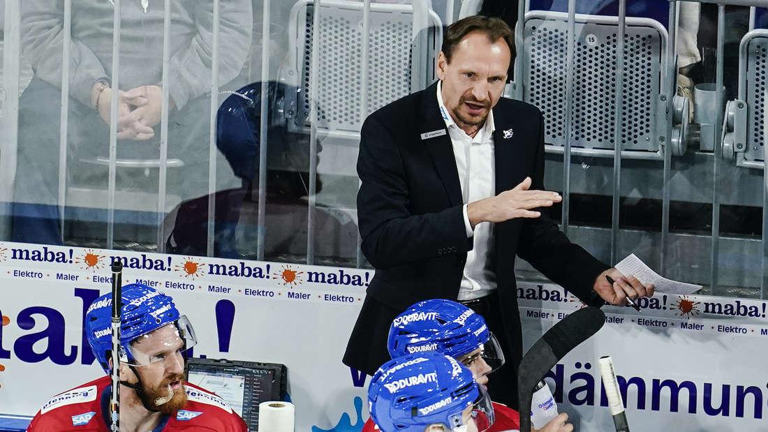 Adler-Coach Pavel Gross gestikuliert.