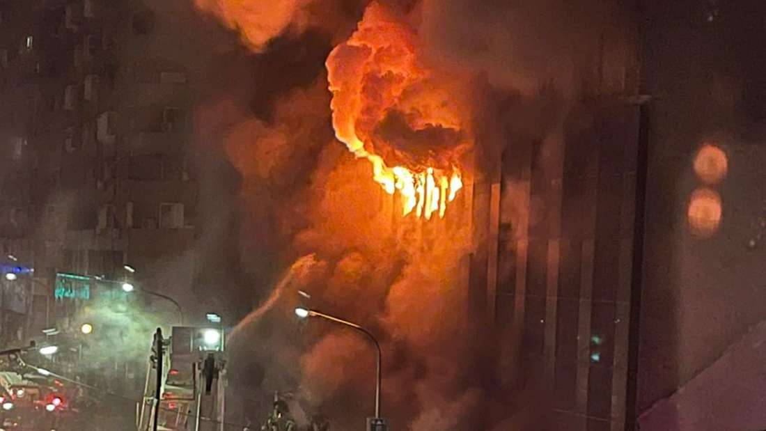 Brand in Hochhaus in Taiwan
